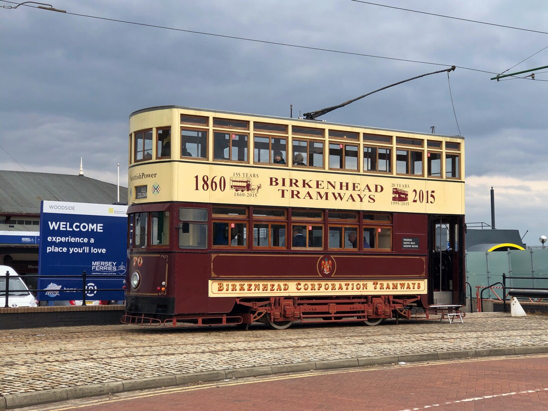 Tram from the Wirral Transport Museum & Heritage Tramway at the Woodside Ferry terminal in Birkenhead, U.K.