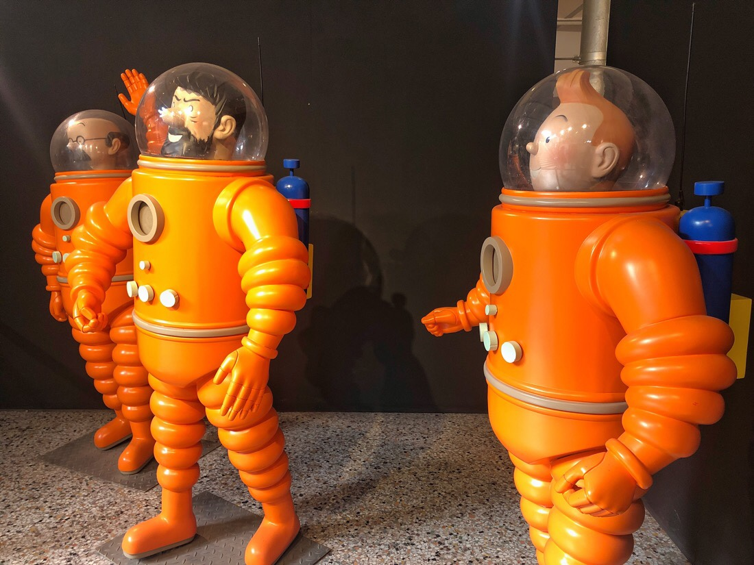 Tintin figures from the Destination Moon episode at the Comic Strip Museum in Brussels, Belgium