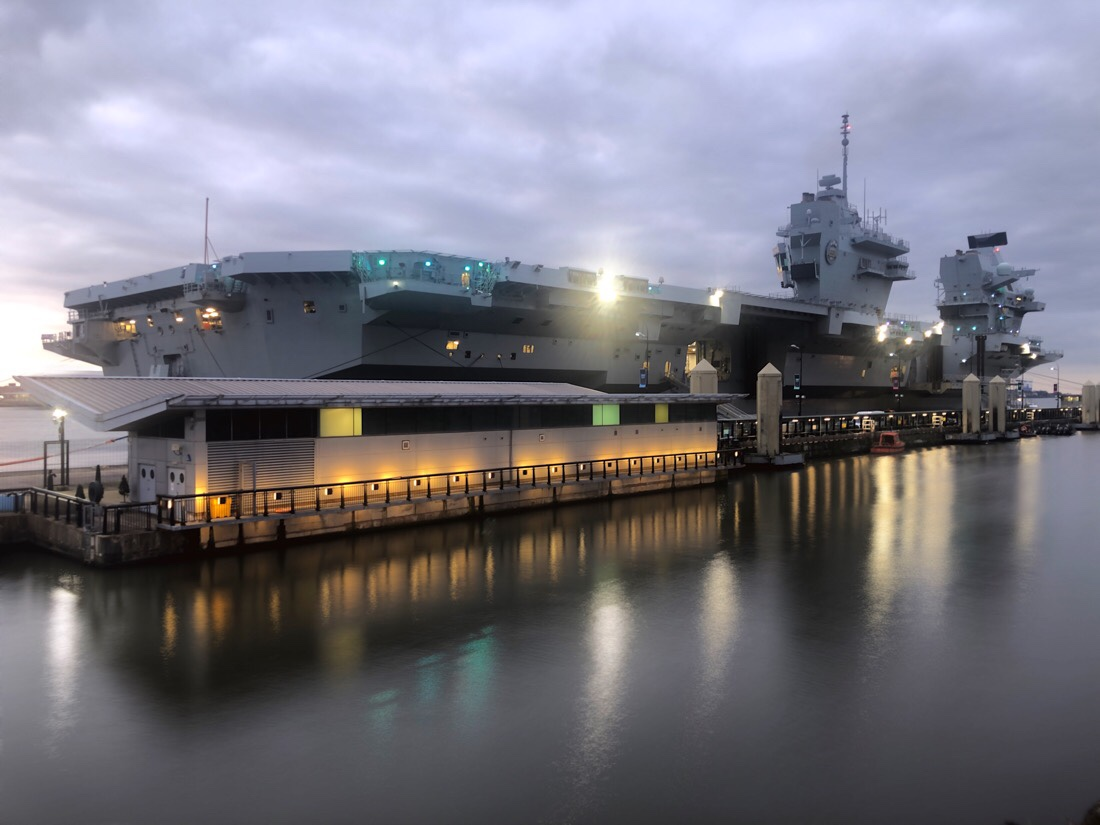 Royal Navy aircraft carrier HMS Prince of Wales docked in Liverpool at the Cruise Liverpool terminal