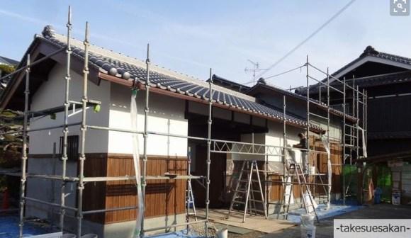 和風住宅 外壁の漆喰塗り