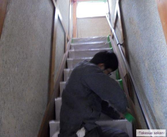 塗り壁の階段