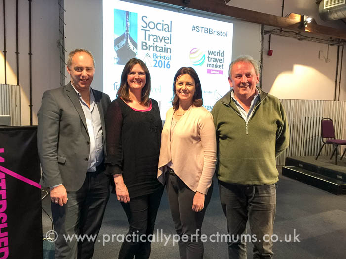Bristol Travel Massive, chapter leaders Jane Batt and Heather Cowper with Mark Frary and Steve Keenan at Social Travel Britain