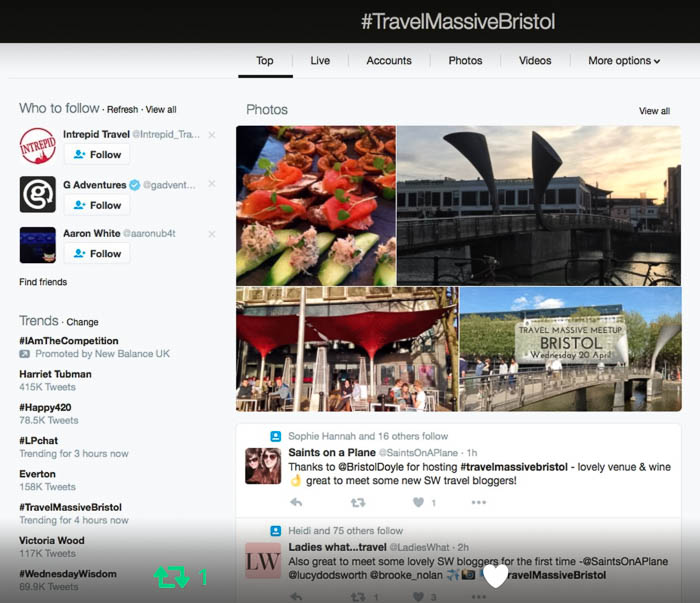 Bristol Travel Massive trending on Twitter