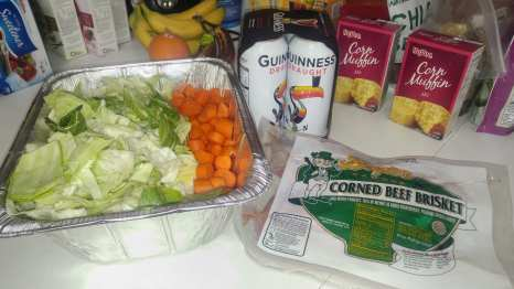 Photo: Crockpot with Corned Beef & Cabbage, cooked, and a pan of cornbread out of the oven