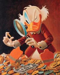 be frugal - Dagobert inspects money