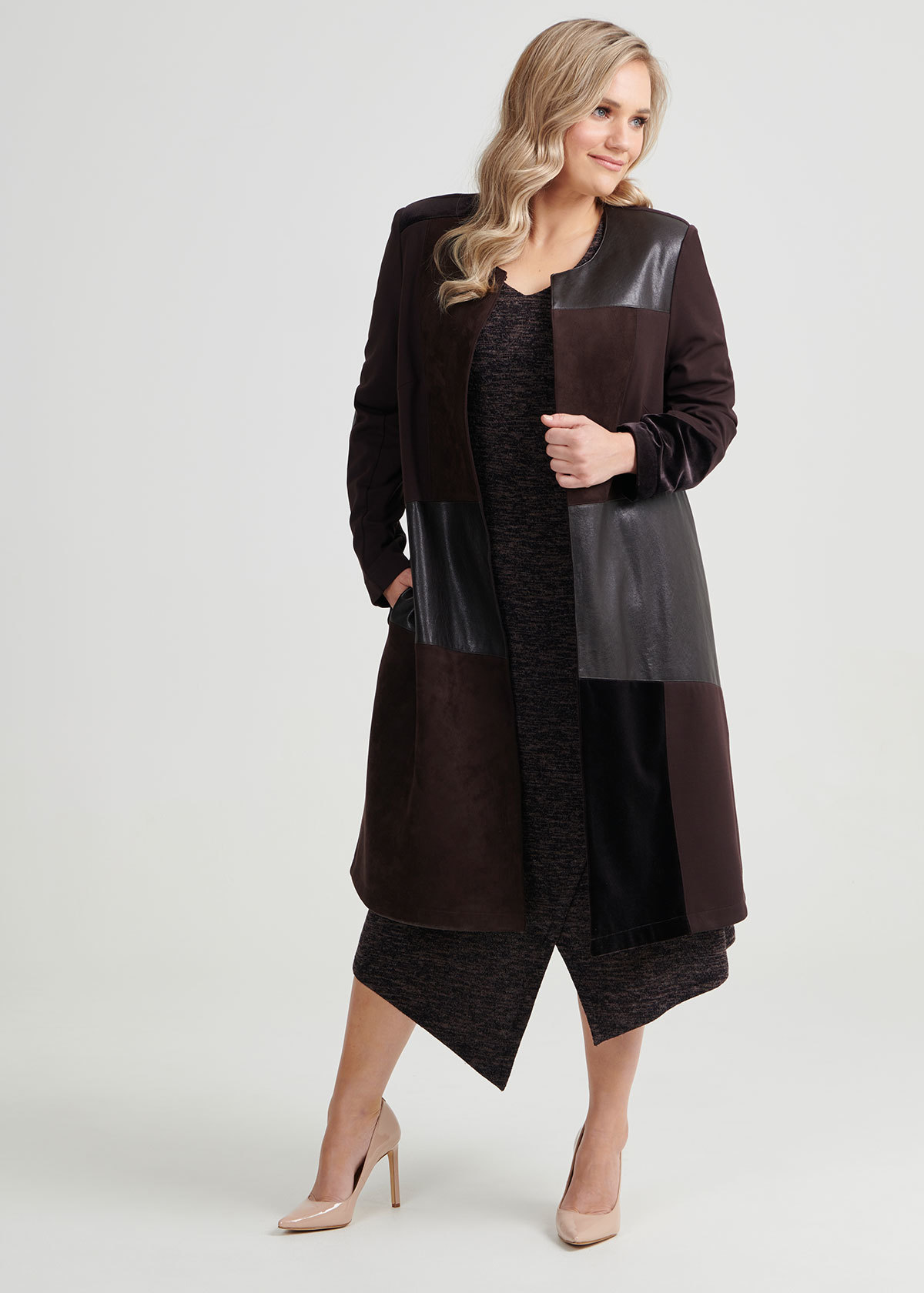 Shop Mix It Up Coat In Black In Sizes 12 To 24