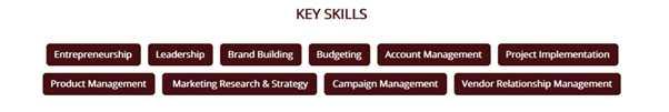 Ideal Resume - Key Skills