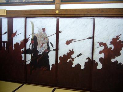 Manpukuji painting on sliding door - last moment of Benkei