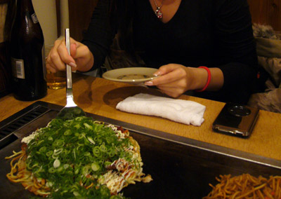 Me at Takki's seat in Okonomiyaki shop