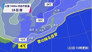 1月24日(日)の予想天気図です (Yahoo!ニュースから拝借してます)