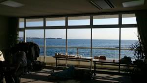 ワークショップ会場から望む相模湾
