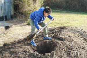 葉っぱなんかを埋める穴を掘る桃侍くん