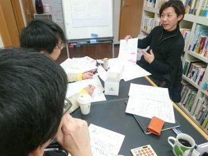 2月の店長会議で、作割表を示す和田店長