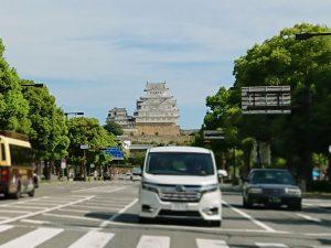 会場に向かう途中に見えた姫路城