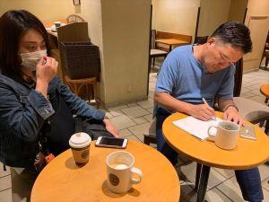 懇親会後に松野先生とふりかえり