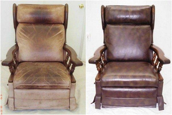 кожаное кресло до и после