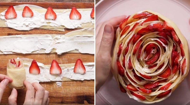 торт из блинчиков с клубникой