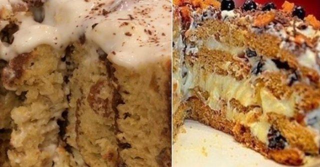 торт на кефире и варенье