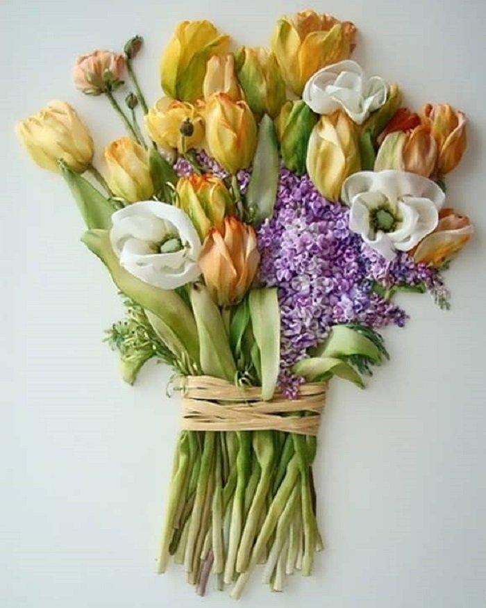 тюльпаны из атласных лент