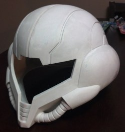 The helmet completely glued and bondo'd.
