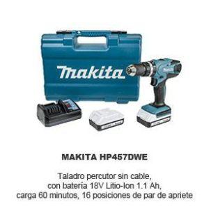 taladro percutor sin cable con bateria - Makita HP457DWE