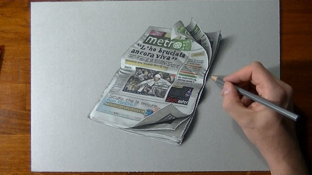 Crazy realistic drawing Metro newspaper