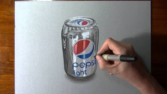 Crazy realistic drawing Pepsi can