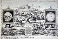 Afis editat de D. Papasoglu, fost ofiter, autor al unei Istorii al Bucurestilor si proprietar al caietului cu schite de monumente al lui Carol Isler. Acest afis educativ a fost desenat avand ca baza desenele lui Isler (craniul, manastirea Dealu, vechea piatra de mormant, scrisa in romaneste). sursa: http://art-historia.blogspot.ro/2012/02/craniul-lui-mihai-viteazul.html