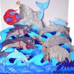 Macheta cu delfini sărind în valuri