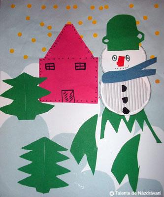 Om de zăpadă - colaj din diverse materiale