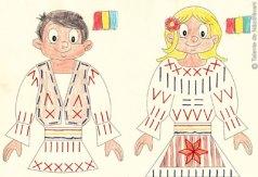Ie românească - exerciții de cusut pe carton pentru copii