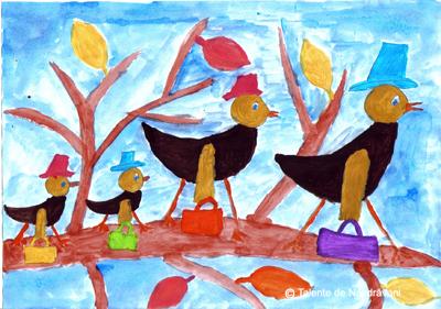 Pictură. Păsări călătoare în drum spre țările calde