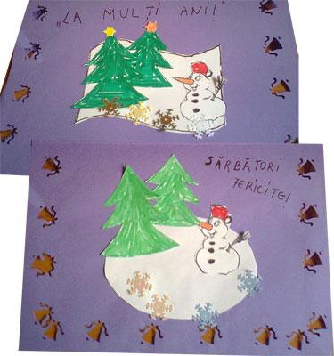 Felicitare de Crăciun cu brăduț și fulg de nea