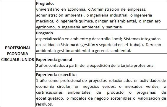 Profesional economía circular (licitaión)