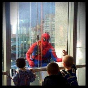 Spiderman.children at window