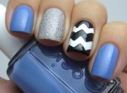 blue chevron accent nail tales