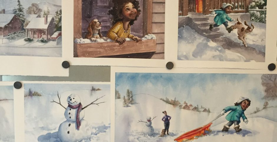 """I place my paintings on a metal board to see if I need make any last minute changes before I send them to the publisher. These are from """"In the Snow"""""""