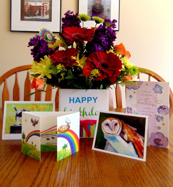 Some cards and the flowers Marc sent to me.
