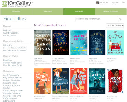 Simple Guide to Netgalley Homepage
