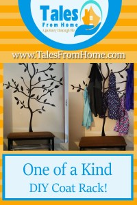 a diy coat rack made to look like a tree