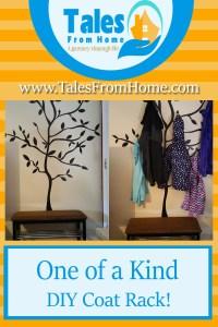 a diy coat rack made to look like a tree