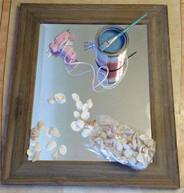 DIY beach themed bathroom mirror supplies
