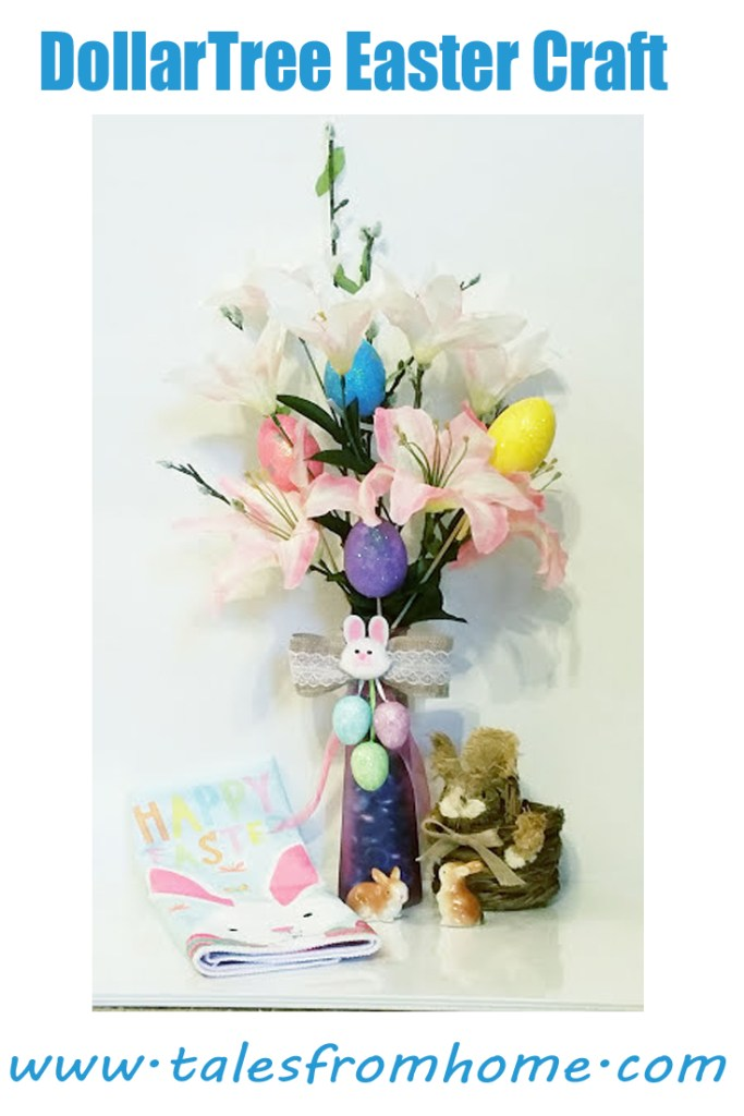 An Easter vase designed using items from the DollarTree