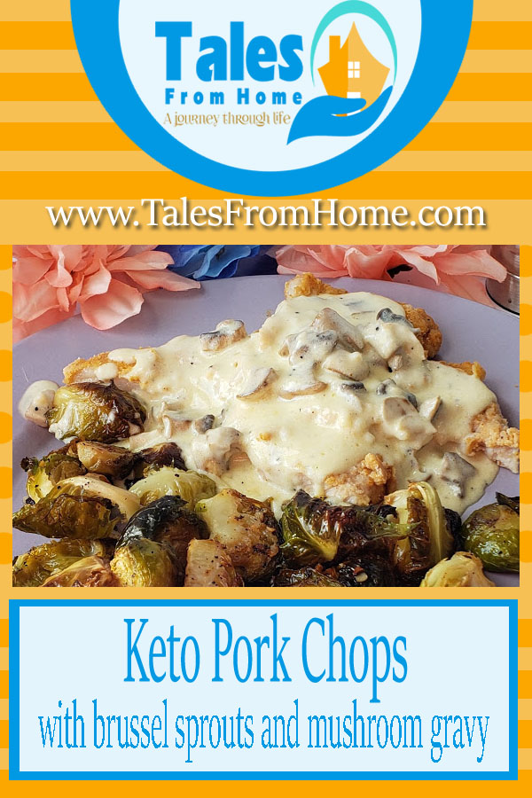 Keto Pork Chops with Brussel Sprouts and Mushroom Gravy #keto #ketorecipe #mushroom #porkchop #gravy #brusselsprouts #recipe