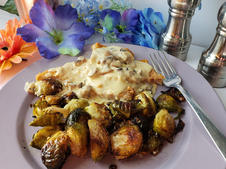 Keto Pork Chops with brussel sprouts an mushroom gravy