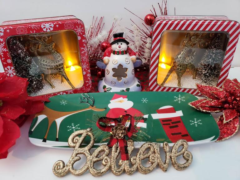 dollar tree christmas decorations reindeer diorama completed - Dollar Tree Christmas Decorations, A Reindeer Diorama - Tales From Home