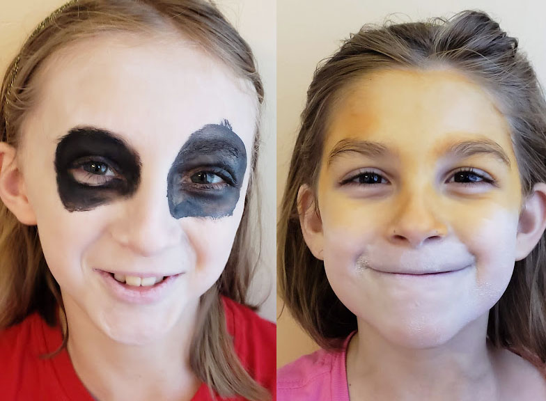 face painting tips, starting with a base layer