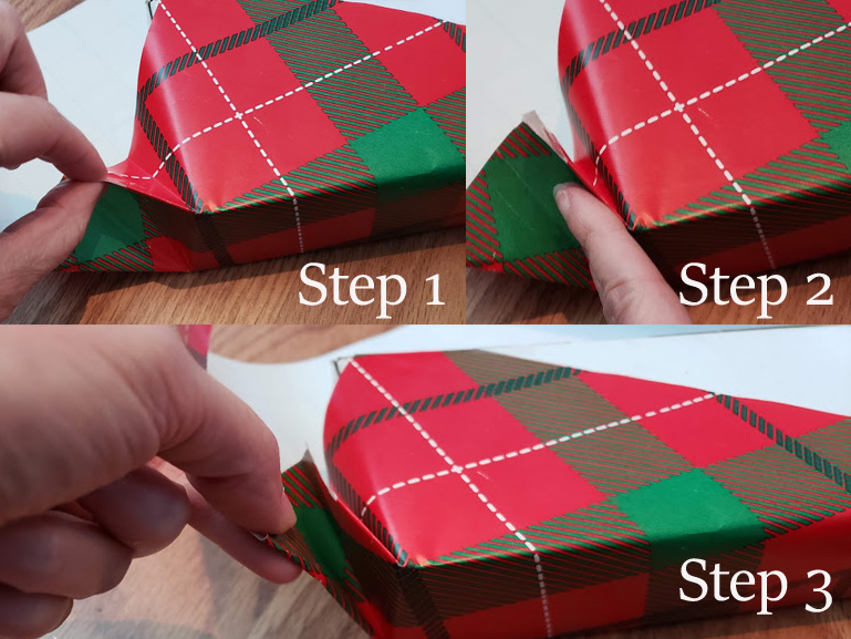 giftwrapping folding the corner seams