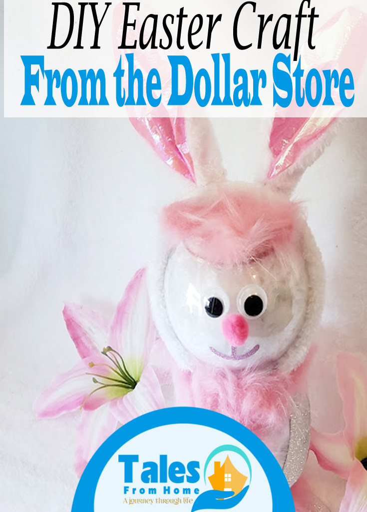 DIY Easter Craft - Glass Bunny! #Easter #easterdecor #easterdiy #eastercraft #crafting #Dollarstorecraft #dollartree #spring #springdiy