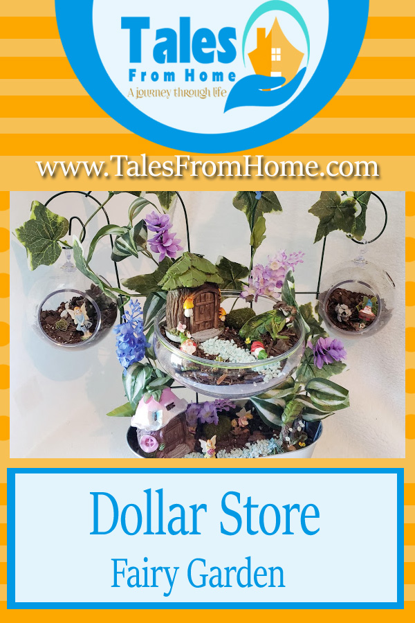 Dollar Store Fairy Garden Project. A DIY bit of summer decor fun! #summer #DIY #fairygarden #succulents #gardening #crafts #Dollarstore #dollartree #simplecrafts